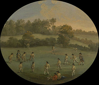 History of cricket - A Game of Cricket at The Royal Academy Club in Marylebone Fields, now Regent's Park, depictiomn by unknown artist, c. 1790-1799