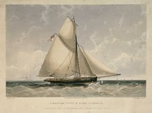 Bramble Cay-History and features-A Man of War Cutter of 10 Guns, as Bramble, &c. Sailing by the wind, on the Larboard tack - Ensign and Pendant flying RMG PU6129.tiff