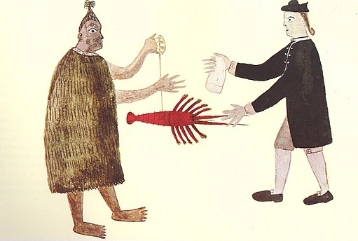 A Maori man and Joseph Banks exchanging a crayfish for a piece of cloth, c. 1769