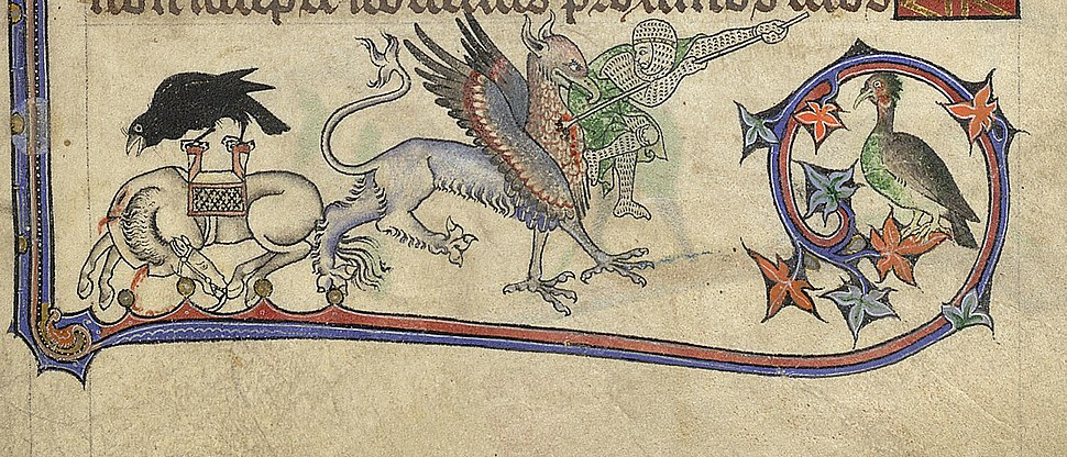 A Soldier Fighting A Griffin In The 'Alphonso' Psalter