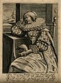 A bird's beak cuts a woman's hand; representing the sense of Wellcome V0007686.jpg