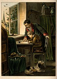A man is instructing a young boy on how to write. Colour lit Wellcome V0039308.jpg