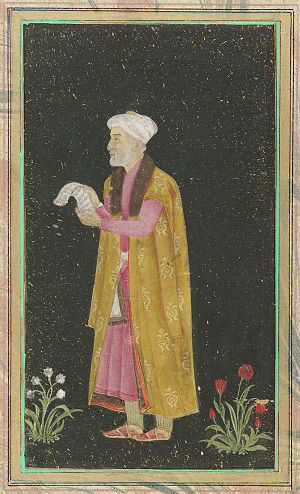 Mirza Ghiyas Beg - A 18th-century portrait of Mirza Ghiyas Beg. Color and gold over gold-sprinkled black ground on paper.