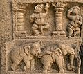 A relief of Kakatiya architecture on the walls of Pacchala Someswara Temple.jpg