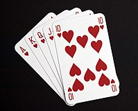 A studio image of a hand of playing cards. MOD 45148377