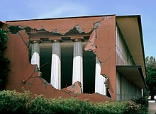 "Conceptual Trompe-l'œil mural at California State University, Chico titled ""Academe,"" featuring Doric columns and peeling walls, by John Pugh"