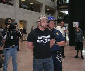 Direct action - Voluntarist activist Adam Kokesh being arrested after a nonviolent protest against the Iraq war in 2007