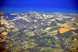 Collingwood, Ontario - Aerial view of Collingwood from the southwest (2013)