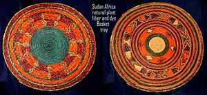 African art - Sudanese basket-tray, tabar of weaved natural plant fibre, coloured in different colours