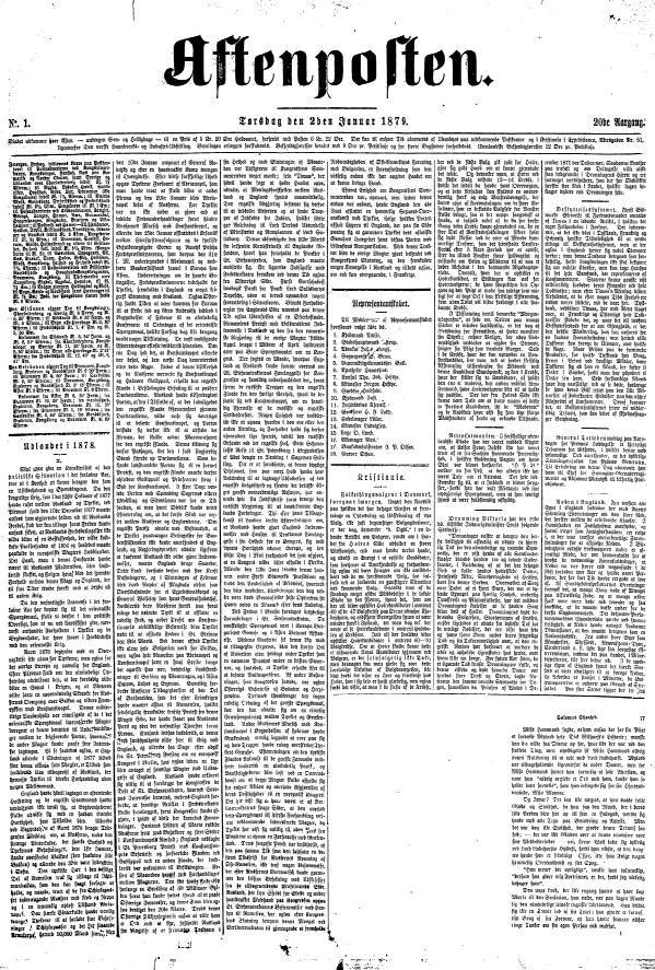Aftenposten 2. januar 1879- framside