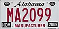 Alabama 2009 manufacturer license plate.jpg