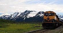 An Alaska Railroad passenger excursion train at Spencer Glacier.