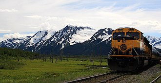 Alaska Railroad - An Alaska Railroad passenger excursion train at Spencer Glacier.