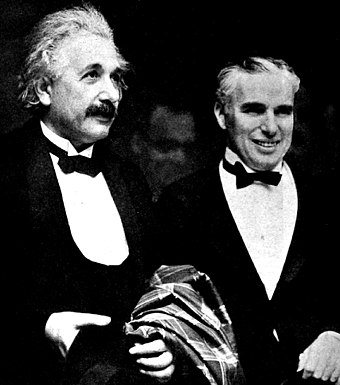 Einstein (left) and Charlie Chaplin at the Hollywood premiere of City Lights, January 1931 Albert Einstein and Charlie Chaplin - 1931.jpg