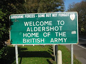 Aldershot - Sign for Aldershot Military Town