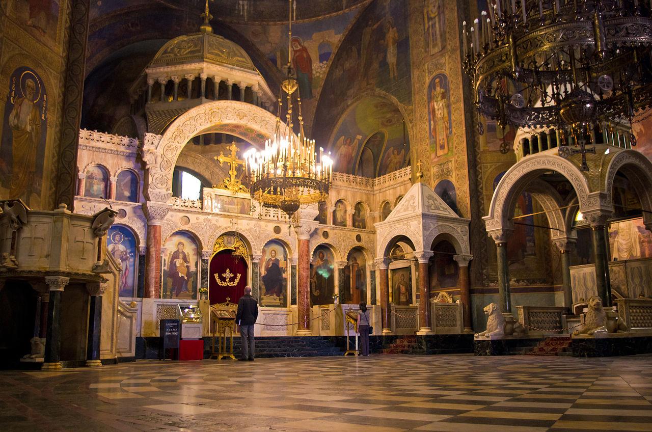 "Interior, Alexander Nevsky Cathedral (Bulgaria) or Cathedral Saint Aleksandar Nevski (in Bulgarian: Храм-паметник ""Свети Александър Невски)"