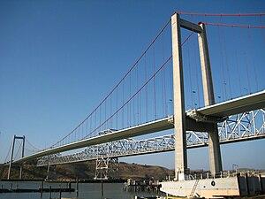 Carquinez Bridge - The Carquinez Bridge in 2008: (from closest to furthest) a 2003 suspension bridge and the 1958 cantilever bridge