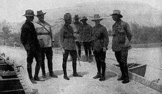 Battle of Abu Tellul - A conference of brigade and divisional commanders with their corps commander on a pontoon bridge spanning the Jordan River. From left to right: Generals Meldrum (New Zealand Mounted Rifles), Ryrie (2nd Light Horse), Chauvel (Desert Mounted Corps), Chaytor (Anzac Mounted Division) and Cox (1st Light Horse).