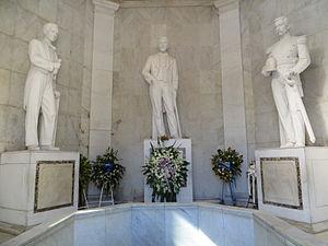 Altar de la Patria - From left to right, the tombs of Francisco del Rosario Sánchez, Juan Pablo Duarte, and Matías Ramón Mella, the founding fathers of the Dominican Republic
