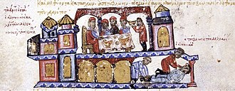 Uprising of Peter Delyan - Alusian invites Peter Delyan to a banquet and has him blinded. Miniature from the Skylitzes Chronicle.