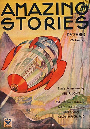 "Neil R. Jones - ""Time's Mausoleum"", the fifth ""Professor Jameson"" story, was cover-featured on the December 1933 issue of Amazing Stories"