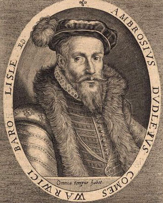 Ambrose Dudley, 3rd Earl of Warwick - Ambrose Dudley, Earl of Warwick. Engraving by Willem de Passe, 1620, after an earlier portrait