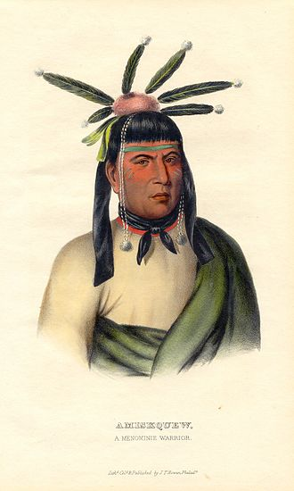 Menominee - Amiskquew, a mid-19th century Menominee warrior, from History of the Indian Tribes of North America.