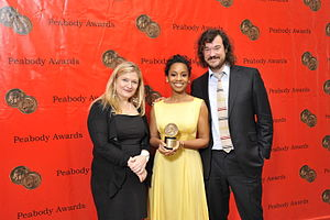 The No. 1 Ladies' Detective Agency (TV series) - Amy Moore, Anika Noni Rose and Tim Bricknell at the 69th Annual Peabody Awards for No. 1 Ladies' Detective Agency