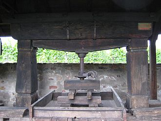 History of the wine press - An old horizontal wine press that used wooden planks and a square base to exert pressure on the grape skins.
