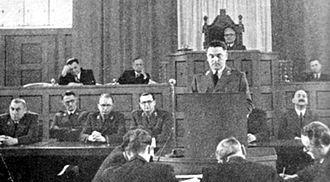 Andrija Artuković - Andrija Artuković delivering a speech in the Sabor in 1942