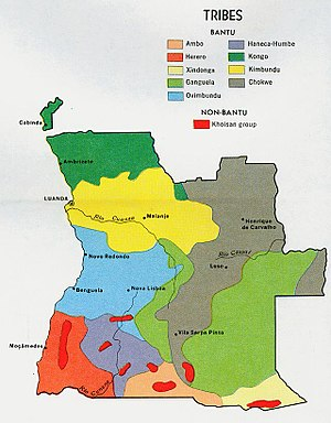 Kongo people - A map of Angola showing majority ethnic groups (Bakongo area is north, dark green).