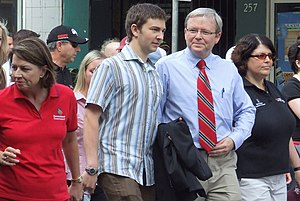 Kevin Rudd - Labour Day 2007. From left to right: Anna Bligh (then Deputy Premier of Queensland), Rudd's son Nicholas, Kevin Rudd and Grace Grace (then general secretary of the Queensland Council of Unions).