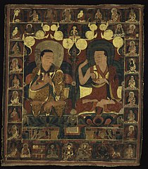 Painted Banner (Thangka) of Lineage Painting of Two Lamas in Debate