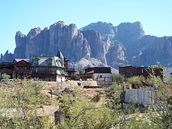 Goldfield with the Superstition Mountains in the background