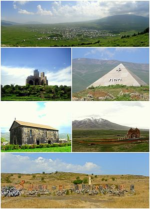 From top left: Aparan skyline with Mount Aragats to the rightBattle of Abaran memorial • Mausoleum of DroKasagh Basilica • Altar of Hope and Mount AraArmenian alphabet park