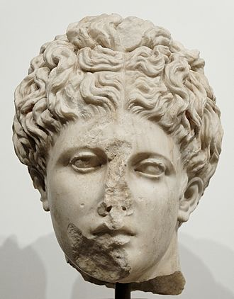 Palace of Domitian - Head of the type Anzio Apollo. Greek insular marble, Roman copy from the early Flavian period after a Greek original from the second half of the 4th century BC. From the Palatine stadium