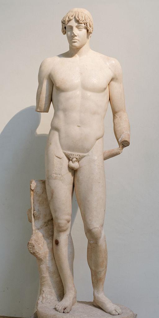 Jeune homme nu : dieu ou athlète. Copie romaine d'après un original grec classique.