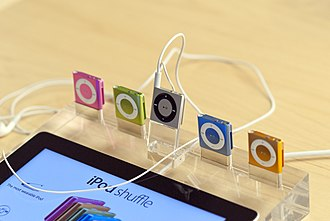 IPod Shuffle - Various iPod Shuffles (4th generation) on display at an Apple Store.
