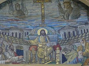 Depiction of Jesus - Christ Pantocrator in a Roman mosaic in the church of Santa Pudenziana, Rome, c. 410 AD