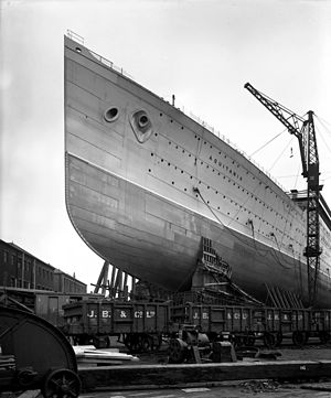 RMS Aquitania - Aquitania shortly before her launch