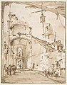 Architectural Capriccio- A Vaulted Passageway (recto); Ruined Loggia (verso) MET DP810410.jpg