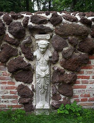 Bog iron - Part of Wall with Hermai—usage of bog ore in architecture