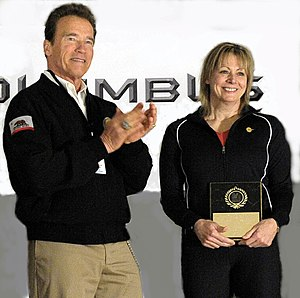 Karyn Marshall - Karyn Marshall was inducted into the USA Weightlifting Hall of Fame in Columbus, Ohio in March 2011. Arnold Schwarzenegger (left) presented the award.