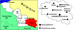 Location of Avesnes-sur-Helpe in Nord-Pas-de-Calais
