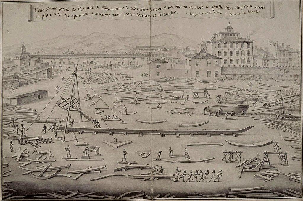 Arsenal de Toulon en 1670 avec vaisseau en construction
