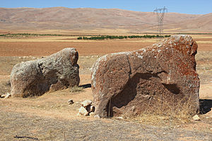 Karatepe-Aslantaş National Park - Neo-Hittite lion stone statues (Turkish: Aslantaş) at Karatepe-Aslantaş Open-Air Museum inside the national park.