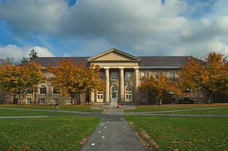 Cornell Central Campus - The western face of Goldwin Smith Hall, viewed across the Arts Quad
