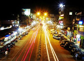 At road view from Chowk Bazar foot bridge, Jorhat.jpg
