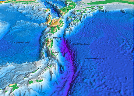 The subduction of the South American Plate and part of the North American Plate beneath the Caribbean Plate produces both the Puerto Rico Trench, the deepest part of the Atlantic Ocean, as well as the active volcanoes of the Lesser Antilles (bottom left of image, south of the Virgin Islands). Atlantic-trench.JPG
