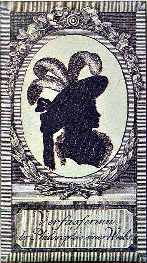 """Marianne Ehrmann - """"Verfasserin der ,Philosophie eines Weibs'"""", paper cutting by an unknown artist, being the only known portrait of Marianne Ehrmann."""